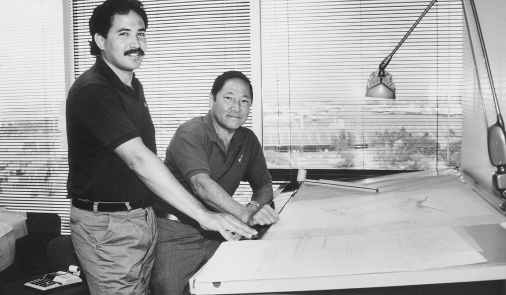 Rudy Choy and Barry Choy drafting